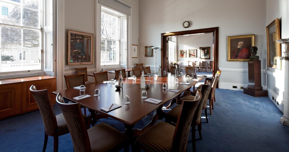 The Cornwall Room and adjoining Burlington Room set for a boardroom meeting and catering space