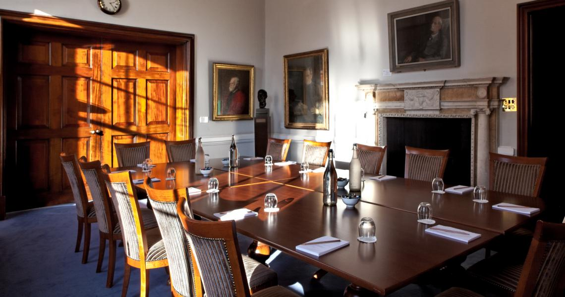 The Cornwall Room set for a boardroom meeting
