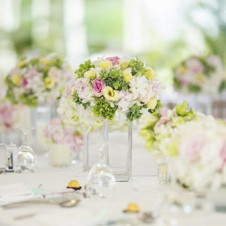 flowers at a wedding reception table
