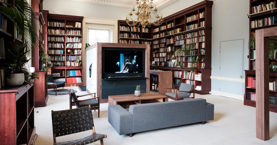 The Lee Library set as an informal relaxing space for Esquire Townhouse