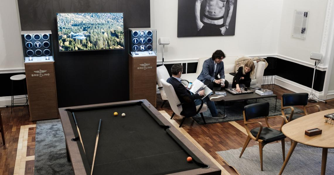 The No. 11 Lobby transformed as an area to relax and play pool