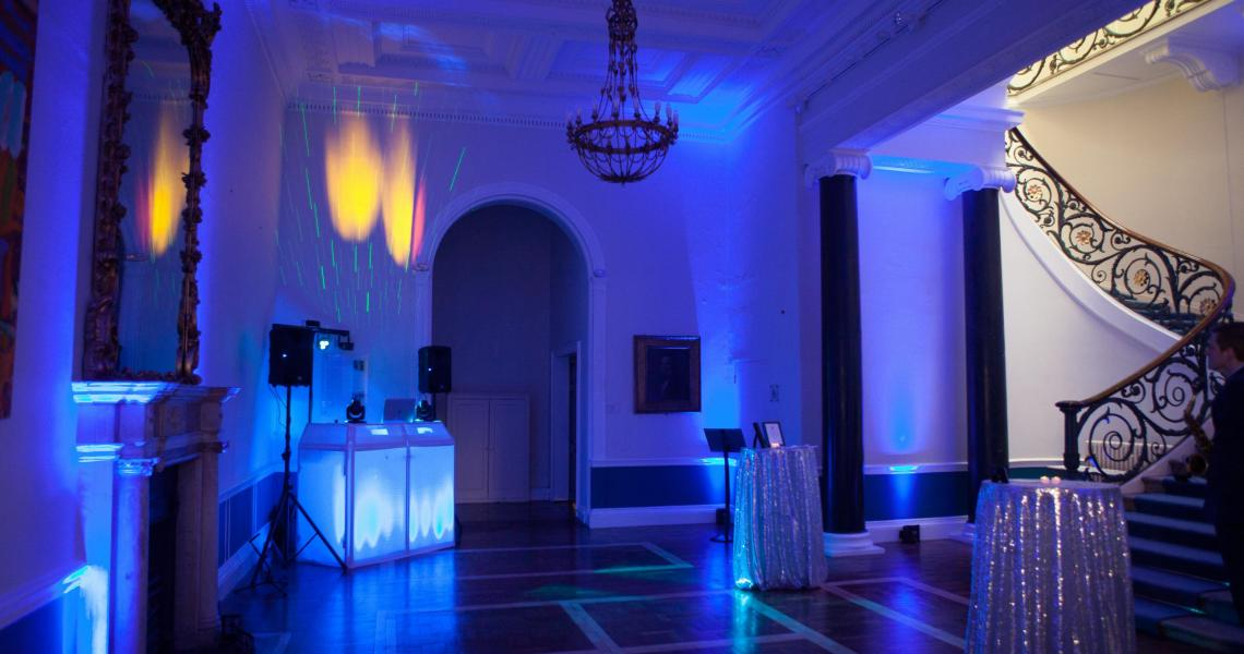 The No.11 Lobby set up for dancing with DJ and reception tables