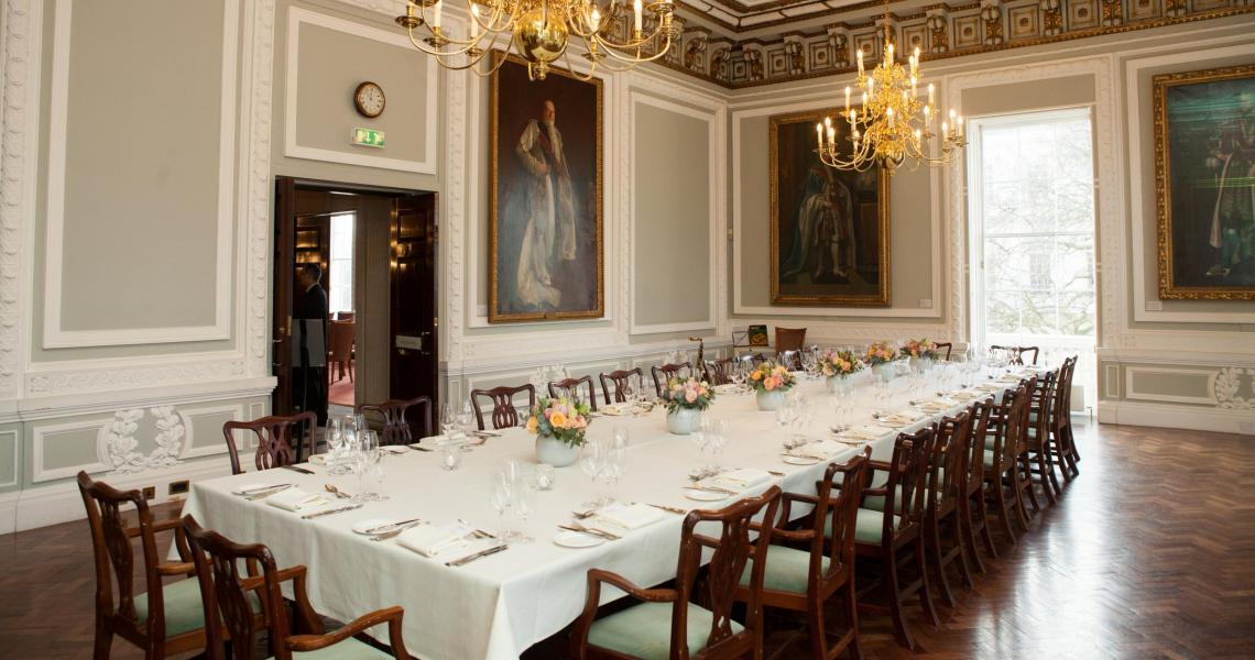 A seated lunch set in the Council Room