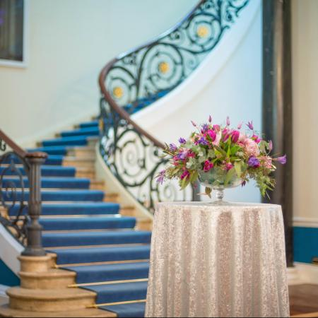 Wedding flowers by Karen Woolven and linen by Glimmer and Threads in the No. 11 Lobby
