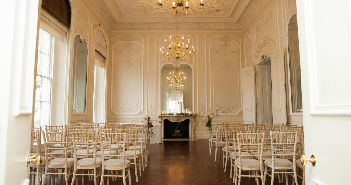 A wedding ceremony in the Music Room