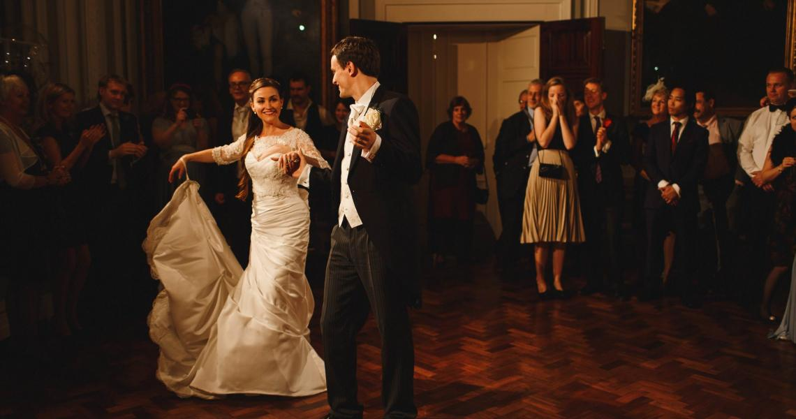 Wedding couples first dance in the Council Room