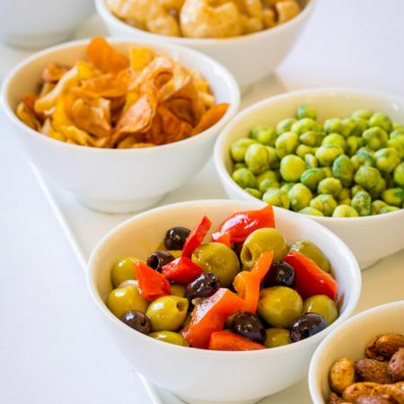 nuts, crisps and olives