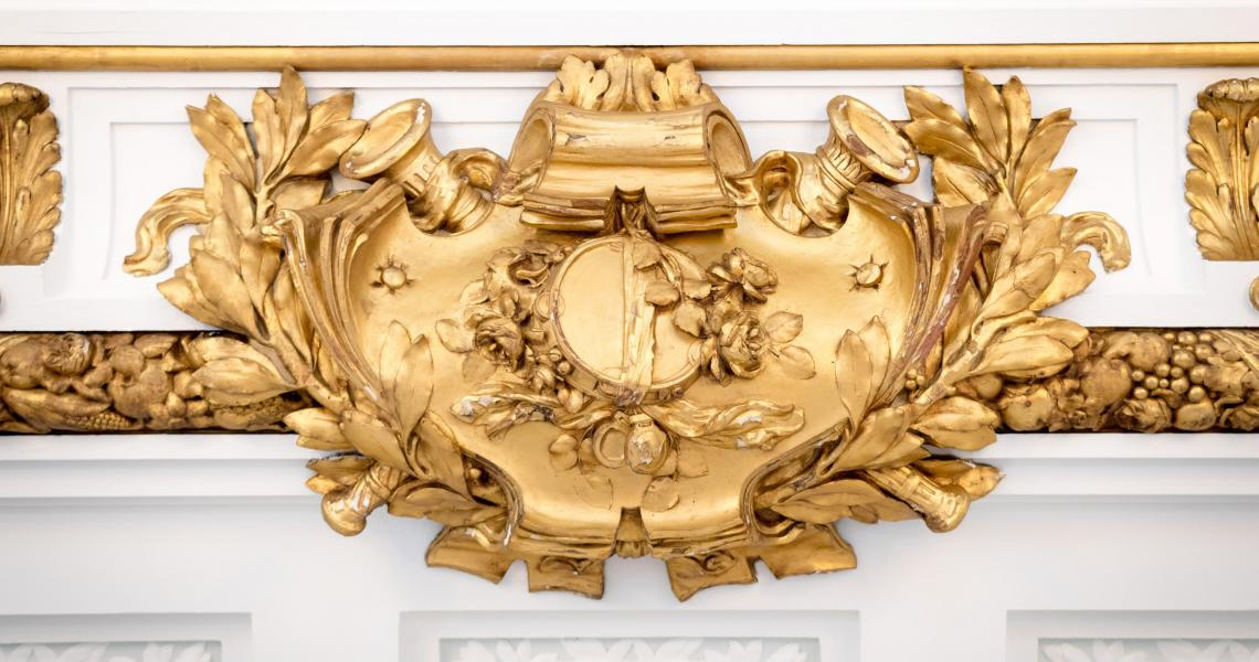 Ornate gold leaf cornice ceiling detail