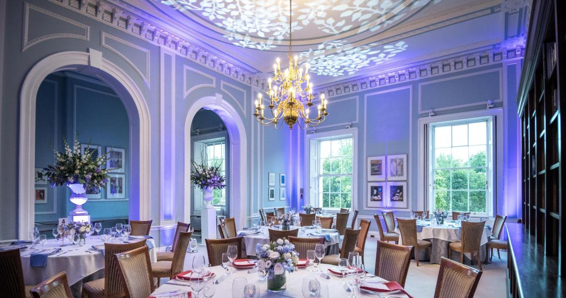 A cabaret dinner set-up at 10-11 Carlton House Terrace, a historic London venue